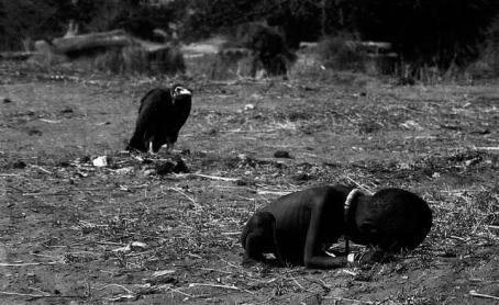 Starving child with a vulture